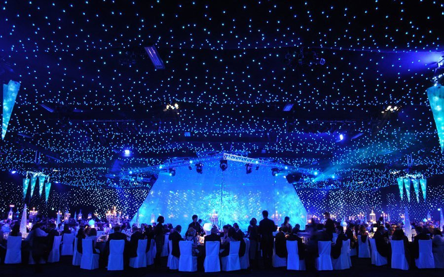 battersea evolution seated event with scenic decoration and lights