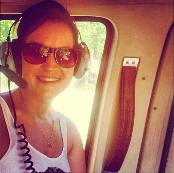 Taking a trip in a helicopter