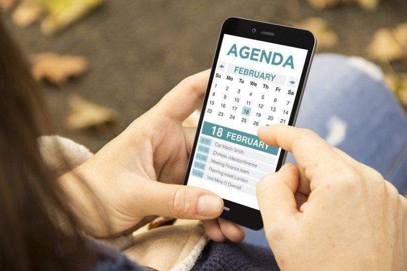 calendar on a smartphone, event timeline, venueseeker