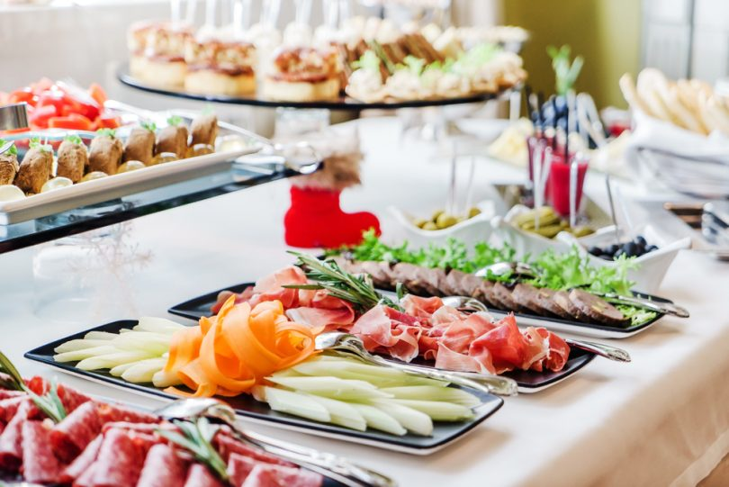 Snacks on catering table - event food trend for 2017