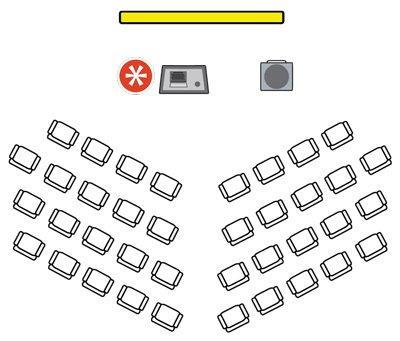Herringbone style event room layouts